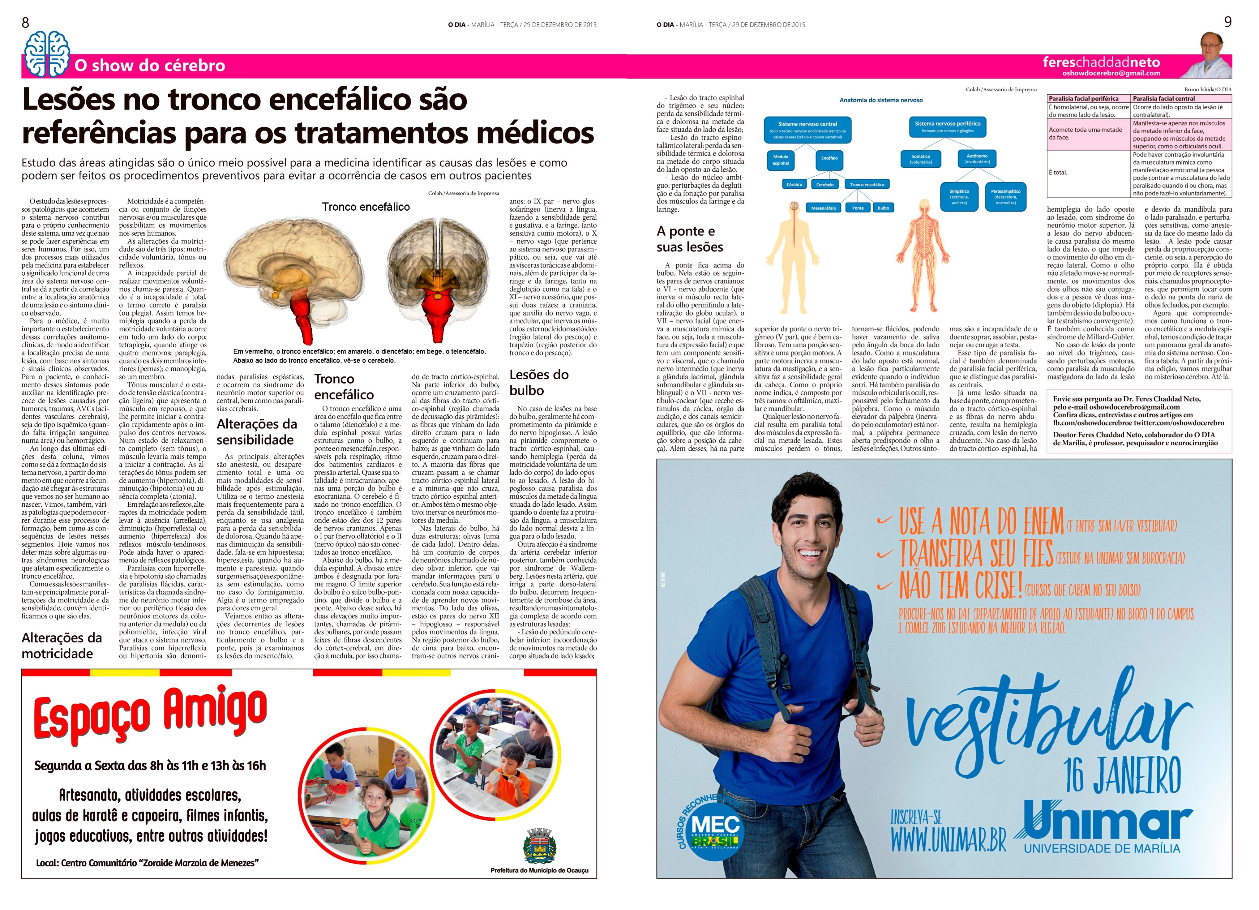Coluna O Show do Cérebro no jornal O Dia, em 29/12/15