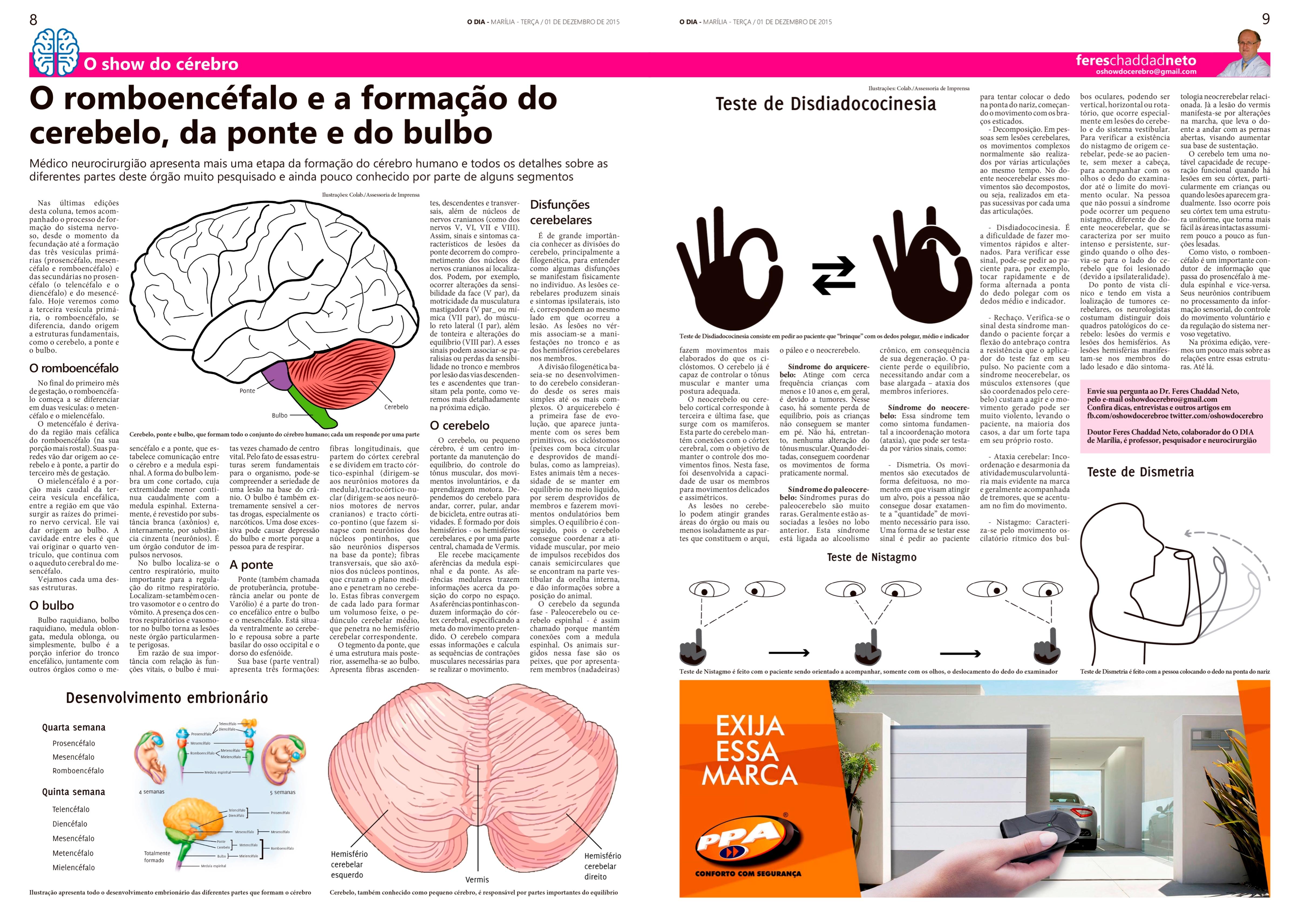 Coluna O Show do Cérebro no jornal O Dia, em 01/12/15